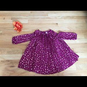 Girls Magenta Dress w/Gold Feather Print 2T NWOT